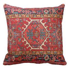 Photo print: of Antique Oriental Turkish Carpet Pillows Red Throw Pillows, Throw Pillow Cases, Kilim Pillows, Earthy Home Decor, Textiles, Cheap Carpet Runners, Decorative Pillow Cases, Patterned Carpet, Modern Carpet
