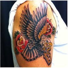 Traditional Eagle & Rose Tattooed by Christian Lain, Pinnacle Tattoo, Corpus Christi, TX.