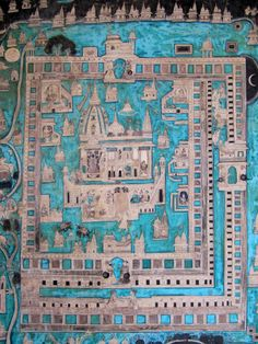 Indian mural painting with turquoise map - Bundi, India - Ludovic FALEDAM Mural Painting, Mural Art, India Pattern, Hindu Art, Old Art, Graphic Design Typography, Indian Art, Artist At Work, Art Reference