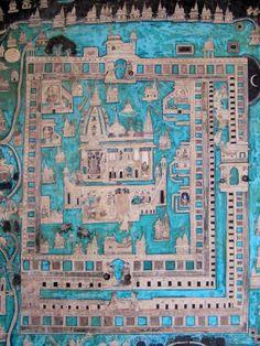 Indian mural painting with turquoise map - Bundi, India - Ludovic FALEDAM