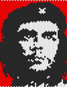 Che Guevara bead pattern Kandi Patterns, Hama Beads Patterns, Beading Patterns Free, Peyote Patterns, Cross Stitch Patterns, Bottle Top Art, Beaded Banners, Beads Pictures, Minecraft Pixel Art