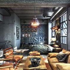 Industrial Interiors, Modern Industrial, Loft Design, Modern House Design, Exterior Design, Interior And Exterior, Masculine Interior, Artist Loft, Ideal Home