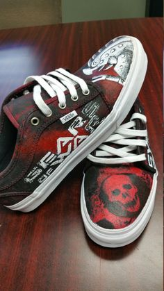 Gears of War Painted Vans off the wall video game bullet gun xbox military delta squad locust horde rifle gun custom shoes bornatnight