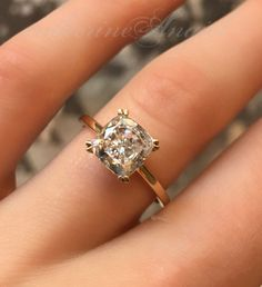 2 carat cushion cut, vintage inspired engagement ring by Catherine Angiel