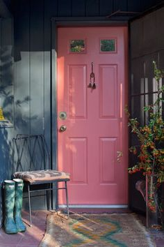 Postcards from the Ridge: 30 Front Door Colors with tips for choosing the right one. Benjamin Moore wildflower.