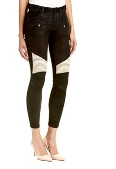 NWT Hudson black tan suede leather Shelby Moto Skinny Stretch Jeans 28 $1096…