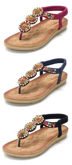 US$22.59 SOCOFY Bohemia Beaded Clip Toe Casual Flat Elastic Sandals