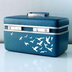 Vintage Upcycled Cobalt Blue TRAIN CASE  hand by bluebernice, $66.00