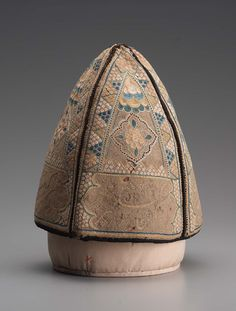 Dervish cap with floral motifs and inscriptions Persian Qajar Dynasty H. Qajar Dynasty, Spiritual People, Persian Motifs, Iranian Art, Virtual Museum, China Fashion, Tribal Jewelry, Ottomans, Headgear