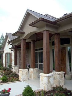 Tie in existing stone with pillars on exterior. A perfect blending of traditional and modern design, complemented with Texas limestone. Design by Trent Williams Construction Management in Tyler. Exterior Paint Colors For House, Paint Colors For Home, Exterior Colors, Exterior Design, Paint Colours, Stucco Exterior, Modern Exterior, Austin Stone Exterior, Building A Porch