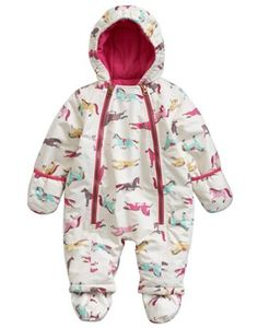 Joules Baby Girls Snow Suit, Creme Pony.                     As the cool months draw in this little snowsuit will keep her warm, cosy and protected from the elements. Great for first forays into the snow. In an only-at-Joules print and with turn back mittens and removable feet.