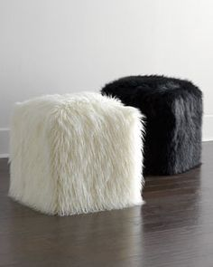How fun are these? Faux-Fur Pouf