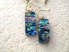 Pink Blue Green Gold Earrings Dichroic Glass Earrings by ccvalenzo: