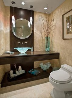 Nice Gl Vessel Sink And Vase In Elegant Small Bathroom Decorating Ideas With Round Framed Mirror