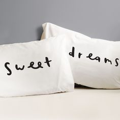 Sweet dreams pillow cases - white bedding bedroom decor