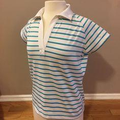 Tahama Women's Golf Polo Large Striped Blue White Performance Fabric  | eBay