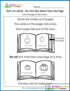 Parts of a Book Worksheets & Vocabulary Cards - Check out this set of kindergarten worksheets like this one - a worksheet about turning the pages of a book. Click through to see all the awesome pages in this set! Kindergarten Language Arts, Kindergarten Books, Kindergarten Math Worksheets, Teacher Worksheets, Science Worksheets, Preschool Printables, Needs And Wants Worksheet, Parts Of Speech Worksheets, Concepts Of Print