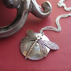 Sterling Silver Dragonfly Pendant with Iolite stone - The Dragonfly's Secret    ...from Lavender Cottage Jewelry