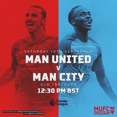 MATCHDAY!! . Saturday 10th September . Premier League . Manchester United v Manchester City . Kick-Off: 12:30pm BST - #mufcdesign #matchday #manchesterunited #manutd #mufc #united #manchestercity #city #mcfc #oldtrafford #manchesterderby #premierleague #epl #art #design #graphic #football