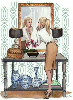 Inslee Haynes (Looks like Barbie in a high-end vignette right out of her big Barbie Mansion). Art And Illustration, Illustration Mignonne, Arte Fashion, Girl Fashion, Fashion Sketches, Fashion Illustrations, Art Girl, Art Drawings, Artsy