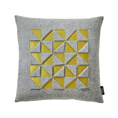 This unique Satimento cushion from Sahco brings instant style and colour into any room. Made from a wool, silk & cotton blend, it features a graphic triangle design with a solid yellow reverse. Ava...