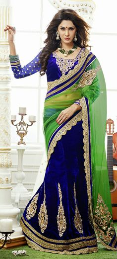 USD 147.71 Green and Blue Embroidered Velvet Lehenga Saree 29103