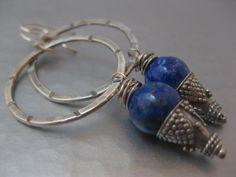 Sterling Silver Hoop Earrings with Lapis