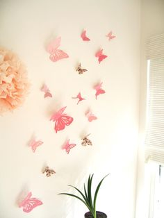 20 Assorted Multi-color Butterflies, Pink, Butterfly, Paper, Cutout, Wall, 3D, Nursery, Baby, Wedding Decor,Girls Room, Cardstock. $45.00, via Etsy.