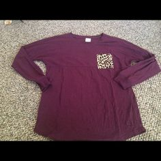 Maroon Cheetah Pink Long Sleeve Tee Size XS but oversized, like new condition, nothing wrong washed never wore. Price is firm NO TRADES NO FREE SHIP!! PINK Victoria's Secret Tops Tees - Long Sleeve