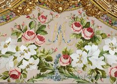 Fantastic embroidery in Marie Antoinette's bed chamber - as re-created by team of skilled embroiderers in mid-20th century. (5th of five pins)