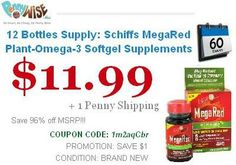 Save 96% 12 Bottles Supply: Schiffs MegaRed Plant-Omega-3 Softgel Supplements Model MegaRed Offer for today only..!! Hurry Up..!!