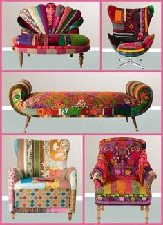 New Patchwork Furniture Diy Ideas Bohemian Furniture, Funky Furniture, Colorful Furniture, Art Furniture, Upholstered Furniture, Unique Furniture, Bohemian Decor, Furniture Makeover, Painted Furniture