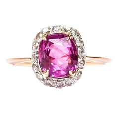Natural Unheated Pink Sapphire Edwardian Engagement Ring | 1stdibs.com
