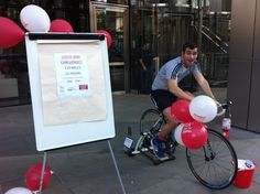 Harvey Nash Professional Recruitment London pedal their way around the M25 in 12 hours, without leaving Heron Tower