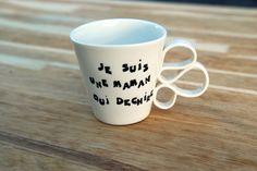 Tasse à café en porcelaine blanche maman anse originale