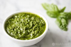 Fresh Basil Pesto Recipe 2 cups fresh basil leaves, packed (can sub half the basil leaves with baby spinach) 1/2 cup freshly grated Romano or Parmesan-Reggiano cheese (about 2 ounces) 1/2 cup extra virgin olive oil 1/3 cup pine nuts (can sub chopped walnuts) 3 garlic cloves, minced (about 3 teaspoons) Salt and freshly ground black pepper to taste