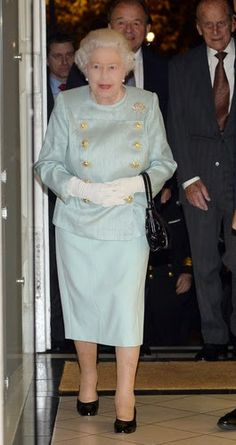 Queen Elizabeth II arrives at Chatham House in London with the Duke of Edinburgh (right), to launch  The Queen Elizabeth II Academy for Leadership in International Affairs, 18.11.2014