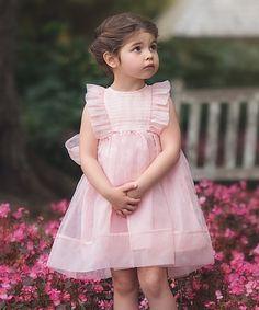 Look at this #zulilyfind! Pink Flutter-Sleeve Bow Dress - Toddler & Girls by Trish Scully Child #zulilyfinds