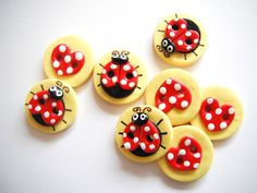 Button Ladybugs and Hearts handmade polymer clay buttons ( 8 ). $8.00, via Etsy.