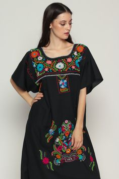 Mexican Embroidered Dress Black Midi Boho Cotton by ShopExile