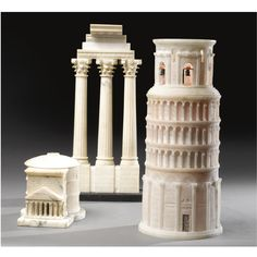 A group of three Italian neoclassical Style Alabaster Grand Tour Objects including the Leaning Tower of Pisa, the Pantheon and a model of the ruin of the Temple of Castor and Pollux. Height of tallest 17 1/2 in. (44.5 cm)