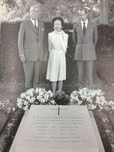 Wallis, Duchess of Windsor, Lord Louis Mountbatten and HRH The Duke of Kent laying flowers at the Duke of Windsor's grave at the Royal Burial Ground at Windsor