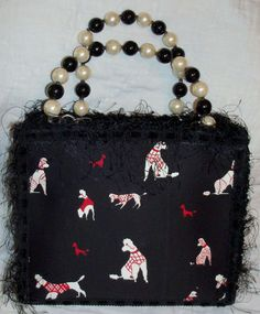 Poodle Red, Black & White Handbag Purse Tote Pearl Handle Magnetic Closure Snap