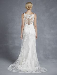 Style * HOPE * » Blue 2015 Collection » by Enzoani » Available Colours : Ivory/Pewter, White/Pewter ~ Shown Lace over Tulle & Charmeuse gown with intricate Beaded Appliqués on Bodice (back)