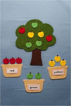 This post from Felt Board Magic has moved. Please take the time to look at our new site at www.feltboardmagic.com This set allows children to sort the apples by colour. First,  discuss the colour o…