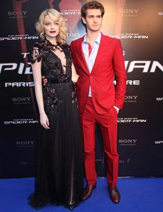 Emma Stone & Andrew Garfield at the French Premiere of 'The Amazing Spiderman' Gwen Stacy, Diane Kruger, Emma Stone Andrew Garfield, The Amazing Spiderman 2, Gucci Gown, Jackson, Red Suit, Red Carpet Looks, Look Chic