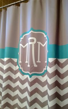 Shower Curtain Chevron YOU CHOOSE COLORS 70, 78, 84, or 90 inch Extra Long Custom Monogram Personalized for You Shown Warm Gray & Emerald
