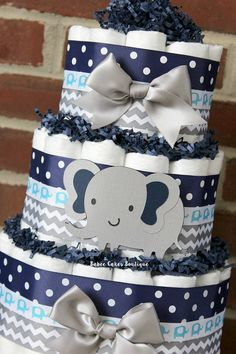 3 Tier Gray and Navy Blue Elephant Diaper Cake, Elephant Baby Shower, Boy… Baby Shower Cakes, Deco Baby Shower, Bebe Shower, Fiesta Baby Shower, Baby Shower Diapers, Baby Shower Favors, Baby Shower Themes, Baby Boy Shower, Baby Shower Decorations