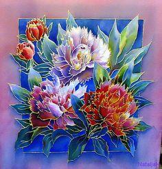 Pictures in technique Batik Peonies 50х55 (3000)