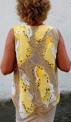 Crochet vest boho with elongated back freeform for woman, summer vest patchwork by MiracleClew on Etsy